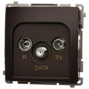 Simon Basic BMAD.01/47 - Gniazdo antenowe R-TV-DATA - Czekoladowy - Podgląd zdjęcia nr 1