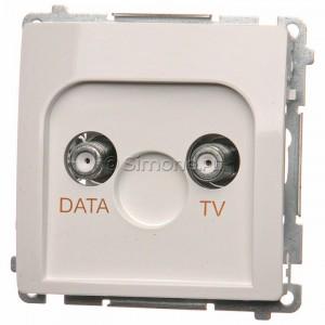 Simon Basic BMAD1.01/11 - Gniazdo antenowe TV-DATA, dwa porty wyjściowe typu F - Biały - Podgląd zdjęcia nr 1