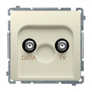 Simon Basic BMAD1.01/12 - Gniazdo antenowe TV-DATA, dwa porty wyjściowe typu F - Beżowy - Podgląd zdjęcia nr 1
