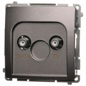 Simon Basic BMAD1.01/21 - Gniazdo antenowe TV-DATA, dwa porty wyjściowe typu F - Inox Met. - Podgląd zdjęcia nr 1