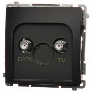 Simon Basic BMAD1.01/28 - Gniazdo antenowe TV-DATA, dwa porty wyjściowe typu F - Grafit Mat. - Podgląd zdjęcia nr 1