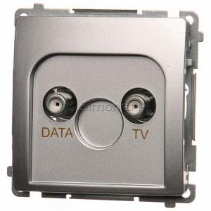 Simon Basic BMAD1.01/43 - Gniazdo antenowe TV-DATA, dwa porty wyjściowe typu F - Srebrny Mat. - Podgląd zdjęcia nr 1