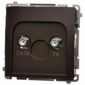 Simon Basic BMAD1.01/47 - Gniazdo antenowe TV-DATA, dwa porty wyjściowe typu F - Czekoladowy - Podgląd zdjęcia nr 1