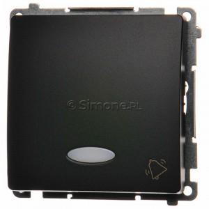 Simon Basic BMD1L.01/28 - Przycisk zwierny dzwonek z podświetleniem typu LED w kolorze niebieskim - Grafit Mat. - Podgląd zdjęcia nr 1