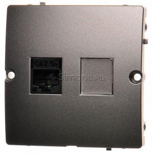 Simon Basic BMF51.02/21 - Gniazdo komputerowe pojedyncze 1xRJ45 kat.5e - Inox Met. - Podgląd zdjęcia nr 1