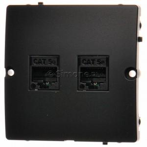 Simon Basic BMF52.02/28 - Gniazdo komputerowe podwójne 2xRJ45 kat.5e - Grafit Mat. - Podgląd zdjęcia nr 1