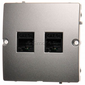 Simon Basic BMF52.02/43 - Gniazdo komputerowe podwójne 2xRJ45 kat.5e - Srebrny Mat. - Podgląd zdjęcia nr 1