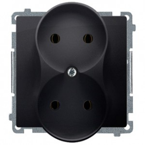 Simon Basic BMG2Mz.01/28 - Gniazdo podwójne bez bolca uziemiającego z przesłonami torów prądowych - Grafit Mat. - Podgląd zdjęcia nr 1