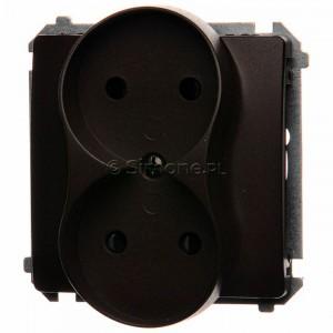 Simon Basic BMG2Mz.01/47 - Gniazdo podwójne bez bolca uziemiającego z przesłonami torów prądowych - Czekoladowy - Podgląd zdjęcia nr 1