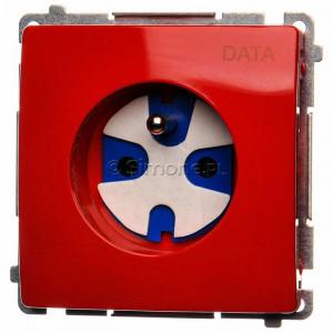 Simon Basic BMGD1.01/22 - Gniazdo pojedyncze z bolcem uziemiającym typu DATA - Czerwony - Podgląd zdjęcia nr 1