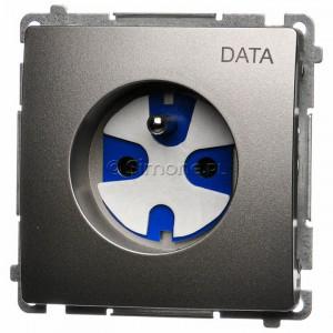 Simon Basic BMGD1.01/29 - Gniazdo pojedyncze z bolcem uziemiającym typu DATA - Satynowy Met. - Podgląd zdjęcia nr 1