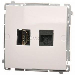 Simon Basic BMGHRJ45.01/11 - Gniazdo HDMI pojedyncze + Gniazdo komputerowe kat.6 - Biały - Podgląd zdjęcia nr 1
