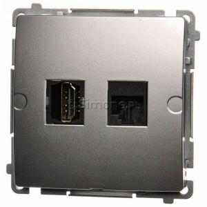 Simon Basic BMGHRJ45.01/43 - Gniazdo HDMI pojedyncze + Gniazdo komputerowe kat.6 - Srebrny Mat. - Podgląd zdjęcia nr 1