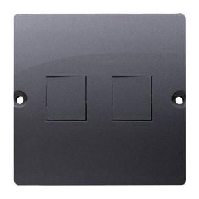 Simon Basic BMGK1P/43 - Pokrywa podwójna płaska do wkładów gniazd teleinformatycznych RJ11/RJ12/RJ45 typu Keystone - Srebrny Mat. - Podgląd zdjęcia nr 1