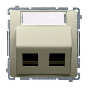 Simon Basic BMGPS2P.02/12 - Pokrywa podwójna skośna z polem opisowym do wkładów gniazd teleinformatycznych RJ11/RJ12/RJ45 typu Panduit - Beżowy - Podgląd zdjęcia nr 1
