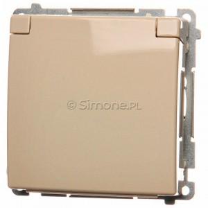 Simon Basic BMGZ1B.01/12 - Gniazdo pojedyncze hermetyczne z bolcem uziemiającym do wersji IP44 z klapką w kolorze wyrobu - Beżowy - Podgląd zdjęcia nr 1