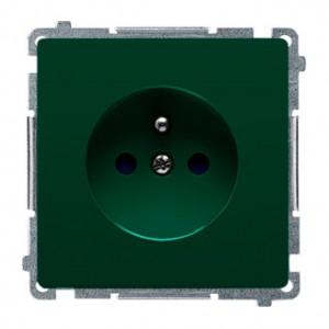 Simon Basic BMGZ1z.01/33 - Gniazdo pojedyncze z bolcem uziemiającym i przesłonami torów prądowych - Zielony - Podgląd zdjęcia nr 1