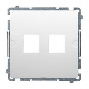 Simon Basic BMPT/11 - Pokrywa podwójna płaska do wkładów gniazd teleinformatycznych RJ11/RJ12/RJ45 typu Keystone - Biały - Podgląd zdjęcia nr 1