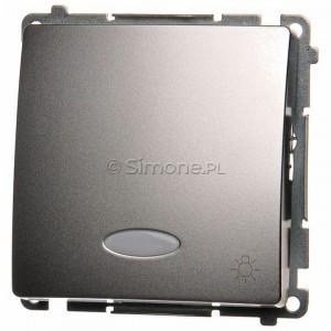 Simon Basic BMS1L.01/43 - Przycisk zwierny światło z podświetleniem typu LED w kolorze niebieskim - Srebrny Mat. - Podgląd zdjęcia nr 1