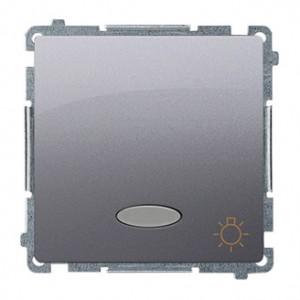 Simon Basic BMS1L24V.01/43 - Przycisk zwierny światło z podświetleniem na 24V typu LED w kolorze niebieskim - Srebrny Mat. - Podgląd zdjęcia nr 1