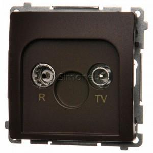 Simon Basic BMZAK10/1.01/47 - Gniazdo antenowe RTV zakończeniowe w szeregu gniazd przelotowych - Czekoladowy - Podgląd zdjęcia nr 1