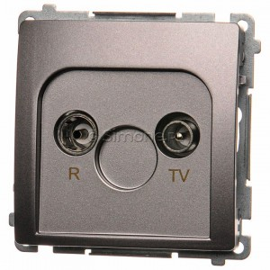 Simon Basic BMZAP10/1.01/21 - Gniazdo antenowe RTV przelotowe 10dB - Inox Met. - Podgląd zdjęcia nr 1