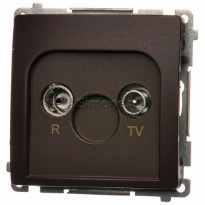 Simon Basic BMZAP10/1.01/47 - Gniazdo antenowe RTV przelotowe 10dB - Czekoladowy - Podgląd zdjęcia nr 1