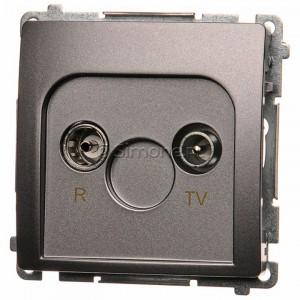 Simon Basic BMZAR1/1.01/21 - Gniazdo antenowe RTV końcowe  separowane - Inox Met. - Podgląd zdjęcia nr 1