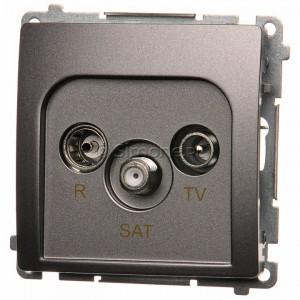 Simon Basic BMZAR-SAT10/P.01/21 - Gniazdo antenowe RTV-SAT przelotowe - Inox Met. - Podgląd zdjęcia nr 1