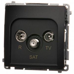 Simon Basic BMZAR-SAT10/P.01/28 - Gniazdo antenowe RTV-SAT przelotowe - Grafit Mat. - Podgląd zdjęcia nr 1