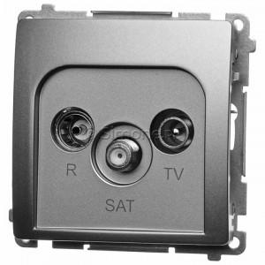 Simon Basic BMZAR-SAT10/P.01/29 - Gniazdo antenowe RTV-SAT przelotowe - Satynowy Met. - Podgląd zdjęcia nr 1