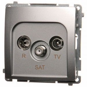 Simon Basic BMZAR-SAT10/P.01/43 - Gniazdo antenowe RTV-SAT przelotowe - Srebrny Mat. - Podgląd zdjęcia nr 1
