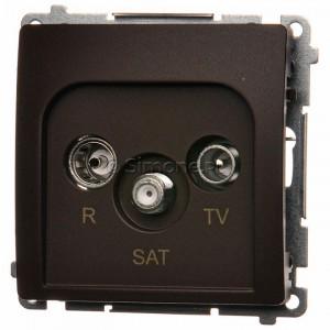 Simon Basic BMZAR-SAT10/P.01/47 - Gniazdo antenowe RTV-SAT przelotowe - Czekoladowy - Podgląd zdjęcia nr 1