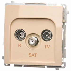 Simon Basic BMZAR-SAT1.3/1.01/12 - Gniazdo antenowe RTV-SAT końcowe lub zakończeniowe w szeregu gniazd przelotowych - Beżowy - Podgląd zdjęcia nr 1
