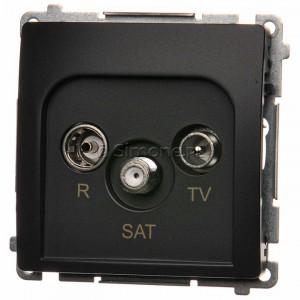 Simon Basic BMZAR-SAT1.3/1.01/28 - Gniazdo antenowe RTV-SAT końcowe lub zakończeniowe w szeregu gniazd przelotowych - Grafit Mat. - Podgląd zdjęcia nr 1