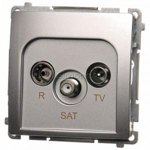 Simon Basic BMZAR-SAT1.3/1.01/43 - Gniazdo antenowe RTV-SAT końcowe lub zakończeniowe w szeregu gniazd przelotowych - Srebrny Mat. - Podgląd zdjęcia nr 1