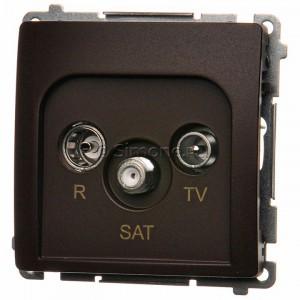 Simon Basic BMZAR-SAT1.3/1.01/47 - Gniazdo antenowe RTV-SAT końcowe lub zakończeniowe w szeregu gniazd przelotowych - Czekoladowy - Podgląd zdjęcia nr 1