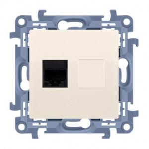 Simon 10 C51.01/41 - Gniazdo komputerowe pojedyncze RJ45 kat. 5 - Kremowy - Podgląd zdjęcia nr 1