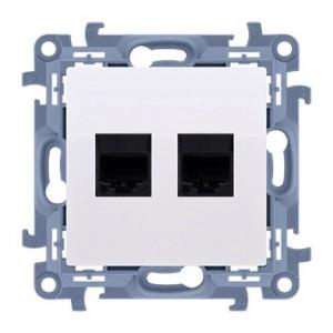 Simon 10 C5T.01/11 - Gniazdo komputerowe RJ45 kategoria kat. 5e + gniazdo telefoniczne RJ12 - Biały - Podgląd zdjęcia nr 1
