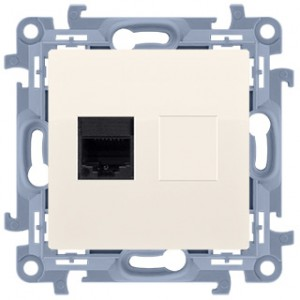 Simon 10 C61.01/41 - Gniazdo komputerowe pojedyncze RJ45 kat. 6 - Kremowy - Podgląd zdjęcia nr 1