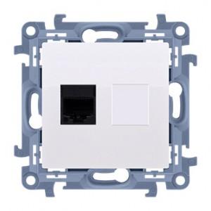 Simon 10 C61E.01/11 - Gniazdo komputerowe pojedyncze RJ45 kat. 6 ekranowane - Biały - Podgląd zdjęcia nr 1