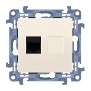 Simon 10 C61E.01/41 - Gniazdo komputerowe pojedyncze RJ45 kat. 6 ekranowane - Kremowy - Podgląd zdjęcia nr 1