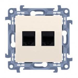 Simon 10 C62E.01/41 - Gniazdo komputerowe podwójne RJ45 kat. 6 ekranowane - Kremowy - Podgląd zdjęcia nr 1