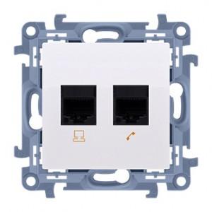 Simon 10 C6T.01/11 - Gniazdo komputerowe RJ45 kategoria kat. 6e + gniazdo telefoniczne RJ12 - Biały - Podgląd zdjęcia nr 1