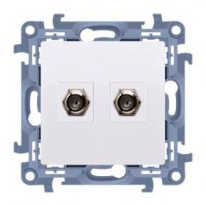 Simon 10 CASF2.01/11 - Gniazdo antenowe SAT podwójne - Biały - Podgląd zdjęcia nr 1