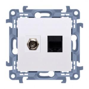 Simon 10 CASFRJ455.01/11 - Gniazdo antenowe SAT pojedyncze + Gniazdo komputerowe kat.6 - Biały - Podgląd zdjęcia nr 1