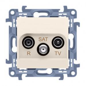 Simon 10 CASK.01/41 - Gniazdo antenowe R-TV-SAT końcowe/zakończeniowe - Kremowy - Podgląd zdjęcia nr 1