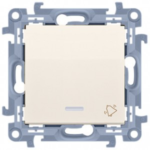 Simon 10 CD1L.01/41 - Przycisk zwierny dzwonek z podświetleniem LED 10A - Kremowy - Podgląd zdjęcia nr 1
