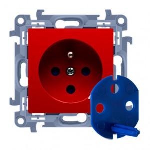 Simon 10 CGD1.01/22 - Gniazdo DATA z bolcem uziemiającym, kluczem uprawniającym oraz klapką w kolorze Czerwonym - Podgląd zdjęcia nr 1