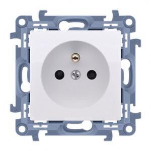 Simon 10 CGZ1Z.01/11 - Gniazdo wtyczkowe pojedyncze z uziemieniem i przesłonami torów prądowych 16A - Biały - Podgląd zdjęcia nr 1